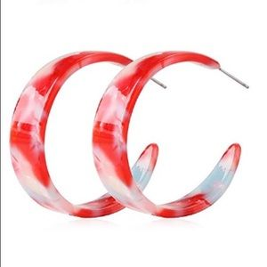 Jewelry - 2 for $18❤️ Red Wide Marbled Acrylic Hoop Earrings